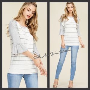 Tops - Raglan Cut Ruffle Trim Bell Sleeve Top